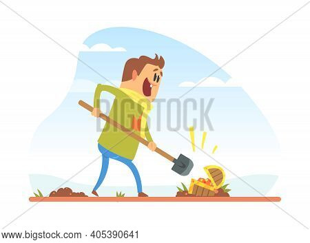 Licky Man Treasure Hunter With Shovel Digging Treasure Chest, Financial Success Concept Cartoon Vect