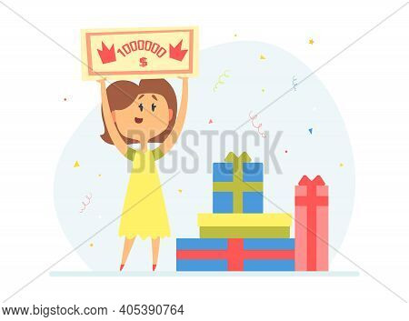 Happy Woman Holding Check For One Million Dollars, Lucky Girl Win Lottery Cartoon Vector Illustratio