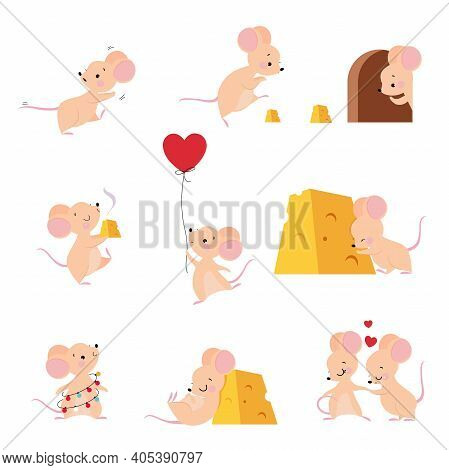 Cute Mouse With Pointed Snout And Rounded Ears Holding Balloon And Sleeping With Cheese Slab Vector