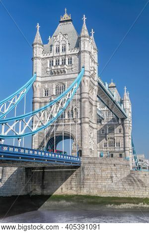 Tower Bridge With Blue Sky In London, England, Uk