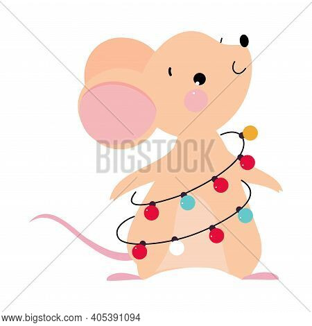 Cute Mouse With Pointed Snout And Rounded Ears Standing With Garland Wrapped Around Its Body Vector