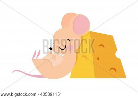 Cute Mouse With Pointed Snout And Rounded Ears Sleeping Leaning Against Huge Slab Of Cheese Vector I