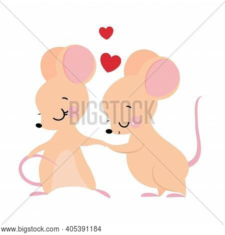 Cute Mouse With Pointed Snout And Rounded Ears Kissing Paw Of Its Sweetheart Vector Illustration