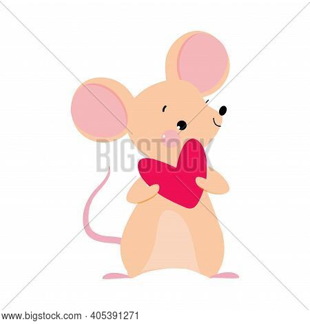 Funny Mouse With Pointed Snout And Rounded Ears Holding Heart Vector Illustration