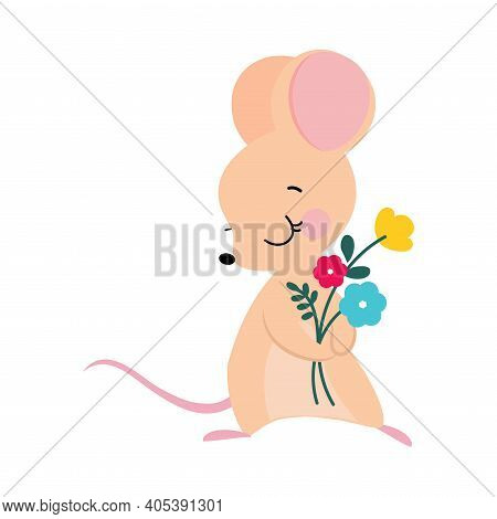 Funny Mouse With Pointed Snout And Rounded Ears Holding Bunch Of Flowers Vector Illustration