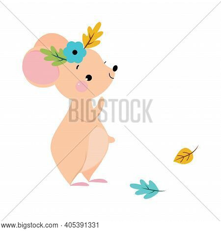 Funny Mouse With Pointed Snout And Rounded Ears Wearing Floral Wreath Vector Illustration