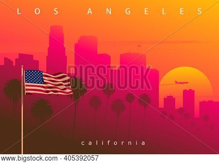 Los Angeles Evening Skyline, California, Usa. Picturesque Sunset In The City Of Angels (original, No