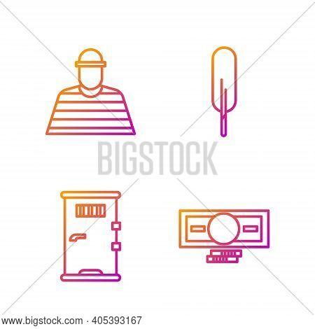 Set Line Stacks Paper Money Cash, Prison Cell Door, Prisoner And Feather Pen. Gradient Color Icons.