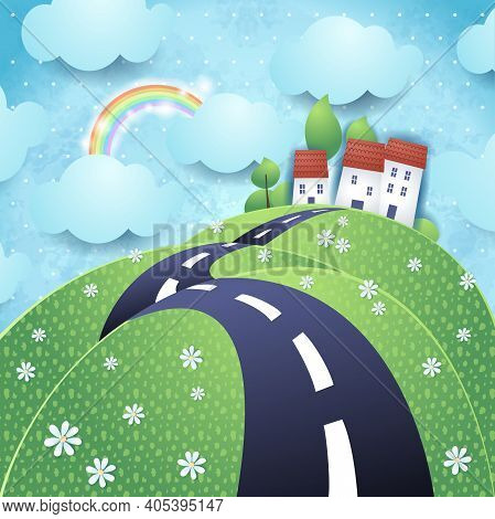 Fantasy Landscape With Hilly Road, Vector Eps10