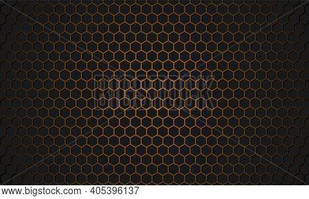 Golden Honeycomb Metal Textured Steel Background. Black And Gold Hexagon Carbon Fiber Texture. Gold