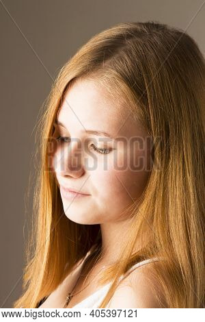 Arrogant Facial Expression, Girl Looking Down, Condescending Grin, Emotions Of The Series