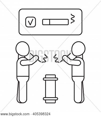 Smoke Area Icon Vector In Outline Style. Screen With Cigarette And Ok Mark. Two Men Smoking In Permi