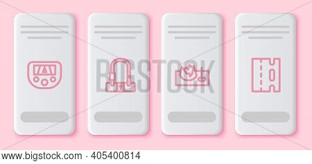 Set Line Gps Device With Map, Bicycle Lock, On Street Ramp And Lane. White Rectangle Button. Vector