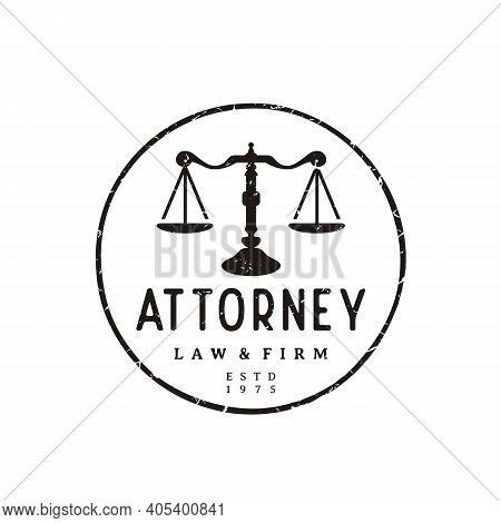 Vintage Rustic Justice Scales Stamp Badge For Attorney, Law Firm, Law Office, Attorney, Lawyer Logo