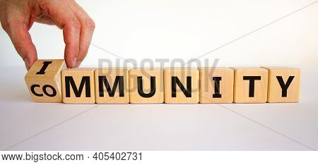 Community Immunity Symbol. Doctor Turns A Cube And Changes The Word 'community' To 'immunity'. Beaut
