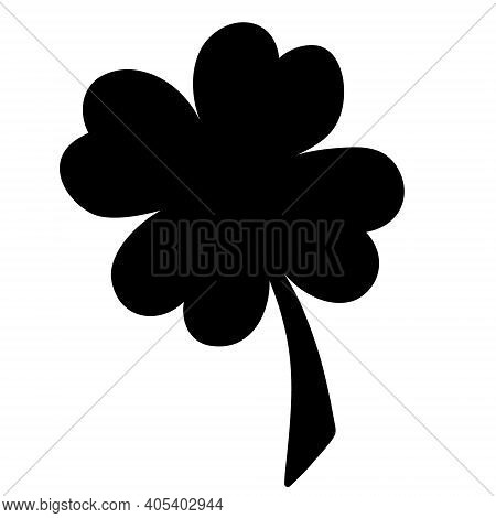 Clover. Silhouette. A Leaf That Brings Good Luck. Four-leafed. Vector Illustration. Isolated White B