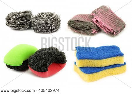 steel wool abrasive soap pads,  steel wire scrub, foam abrasive pads and yellow and blue  abrasive pads on a white background