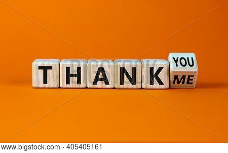 Thank You Or Me Symbol. Turned A Cube And Changed Words 'thank Me' To 'thank You'. Beautiful Orange