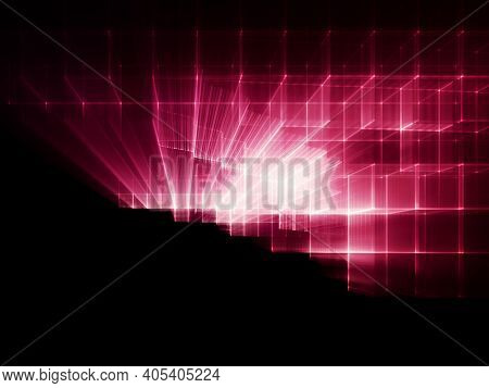 Abstract red and black background. Fractal graphics 3d illustration. Technology and science concept.