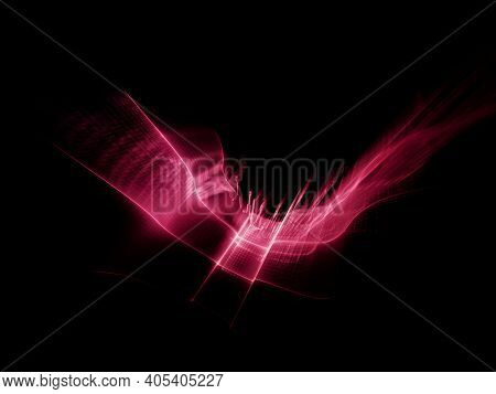 Liquid wavy red greed over black background. Detailed generative fractal graphics. Technology and science concept.