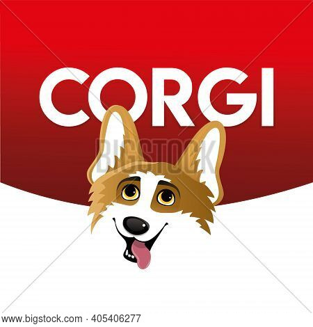 Corgi. Funny Orange Smiling Welsh Corgi Vector Illustration, Cute Comic Canine Character