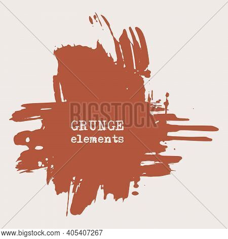 Vector Splats Splashes And Blobs Of Brown Ink Paint In Different Shapes Drips Isolated On White