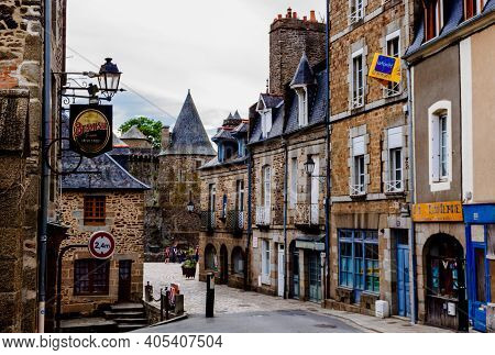 Vitre, Brittany, France - 28 May 2018: Old House On Medieval Street  In Vitre, Brittany, France.