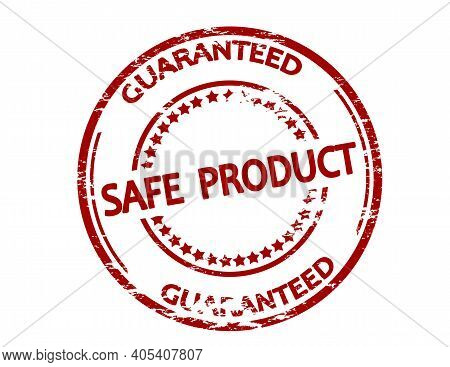 Rubber Stamp With Text Safe Product Guaranteed Inside, Vector Illustration