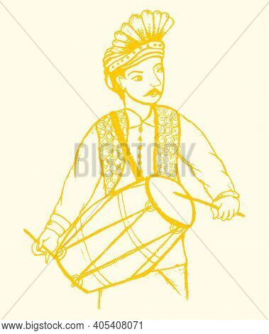Sketch Of Indian Traditional Dressed Musician With Music Instrument Outline Editable Illustration