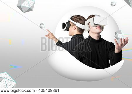 Man in VR glasses augmented reality futuristic technology