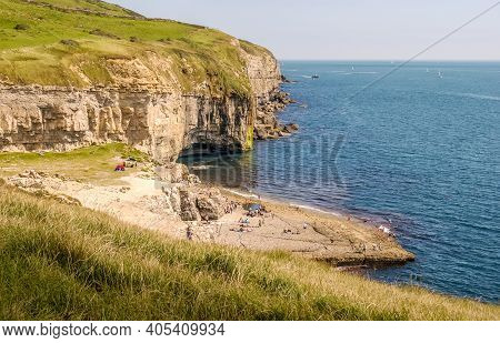 Looking East Along The Jurassic Coast With The Famous Dancing Ledge Near Langton Matravers, Swanage,