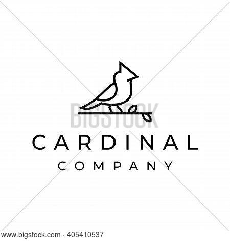 Cardinal Bird Logo Design With Line Outline Monoline Art Style