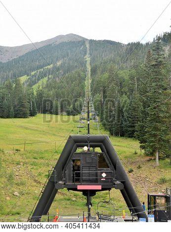 Mountain Chair Lift In The Mountains Of Arizona, Southwest Usa