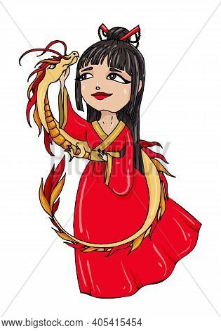 A Cartoonyoung Black-haired Chinese Woman In Red Traditional Costume With A Golden Asian Dragon. Vec