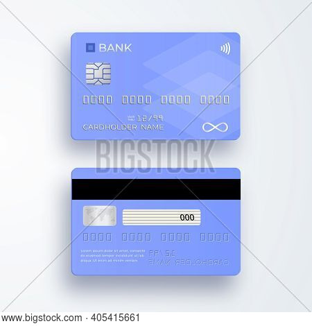 Realistic Plastic Credit Card. Bank Card With Chip. Shopping Discount Plastic Card. Template Card Fo