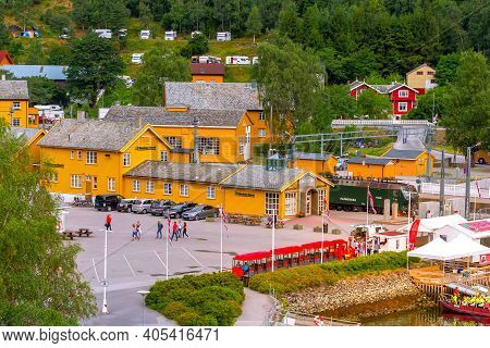 Flam, Norway - July 31, 2018: High Angle Town Summer View, Train Station With Flamsbana Train And Mu