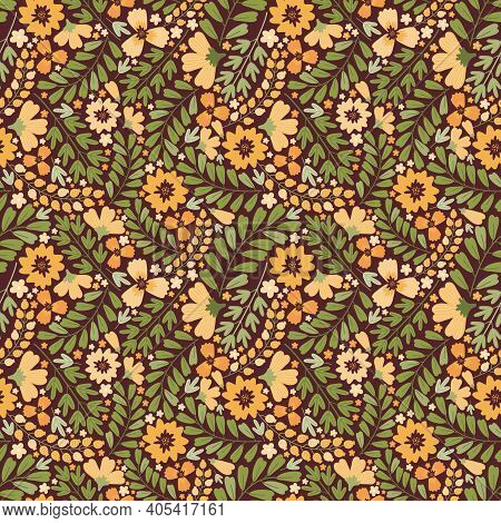 Blooming Summer Meadow Seamless Pattern. Repeating Dense Flower Background. Lot Of Different Yellow