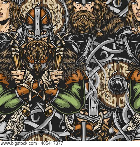 Viking Colorful Vintage Seamless Pattern With Strong Bearded Nordic Warriors Beautiful Valkyrie In A