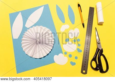 How To Make A Paper Rabbit For Easter Greetings. Diy Children's Art Project. Diy Concept. Step 9. Cu