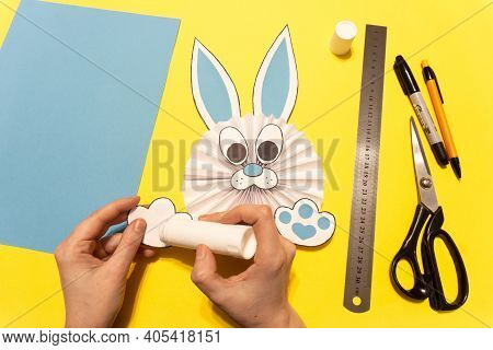 How To Make A Paper Rabbit For Easter Greetings. Diy Children's Art Project. Diy Concept. Step 11. G