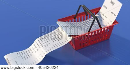 Shopping Basket And Paper Receipt On Blue Background. 3D Illustration