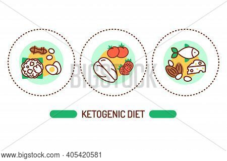 Ketogenic Diet Outline Concept. Very Low-carb, High-fat Diet Line Color Icons. Pictograms For Web Pa
