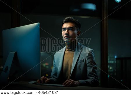 Thoughtful Man Create Business Plan