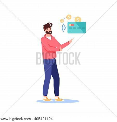 Vector Cartoon Flat Man Character Presents Nfc Contactless Payment.happy Customer Shows Way To Buy G