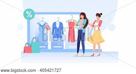 Vector Cartoon Flat Woman Characters Try New Dress Outfit.girls Choose Fashionable Dresses Discounts