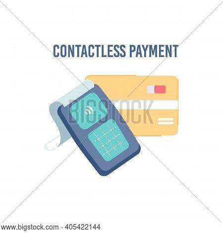 Vector Cartoon Flat Nfc Contactless Payment Illustration.nfc Smart Credit Card And Pos Terminal-mode