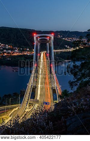 Rande Bridge In Vigo. Closeup View Of The Highway