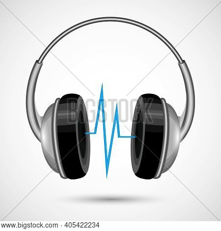 Headphones With Abstract Soundwave Isolated On White Background Poster Vector Illustration