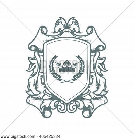 Luxury Imperial Coat Of Arms Template, Laced Heraldic Shield With King Crown, Ancestral Medieval Cre