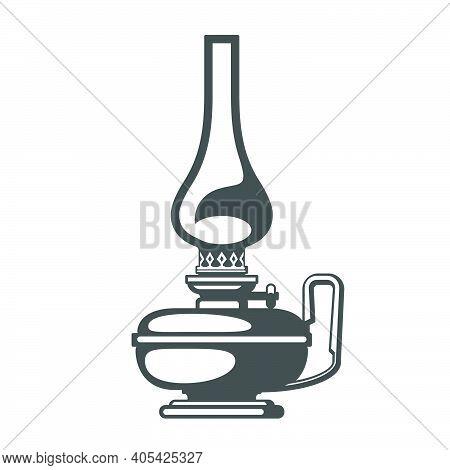 Antique Oil Lantern, Oil Lamp Or Kerosene Camping Light Silhouette, Vector
